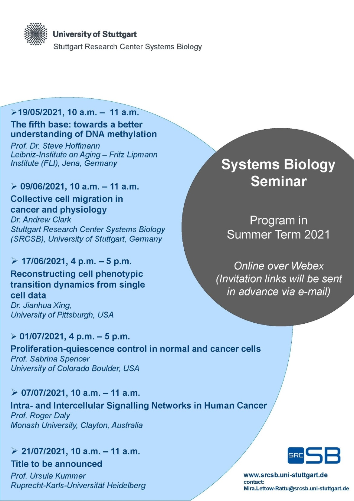 New Poster for the Systems Biology Seminar