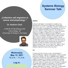 Ankündigung von Dr. Andrew Clark, Stuttgart Research Center Systems Biology, SRCSB, Universität Stuttgart