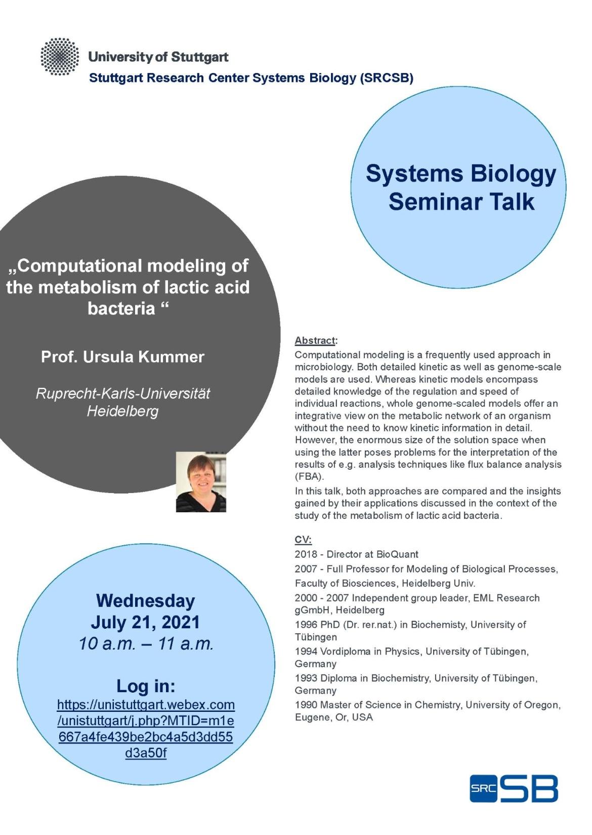Announcement of the Talk of Prof. Ursula Kummer