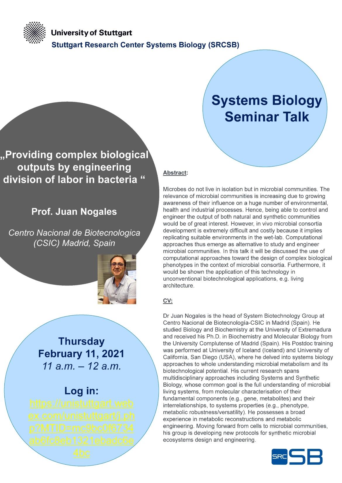 Announcement of the Talk of Prof. Juan Nogales, Centro Nacional de Biotecnologica (CSIC) Madrid, Spain