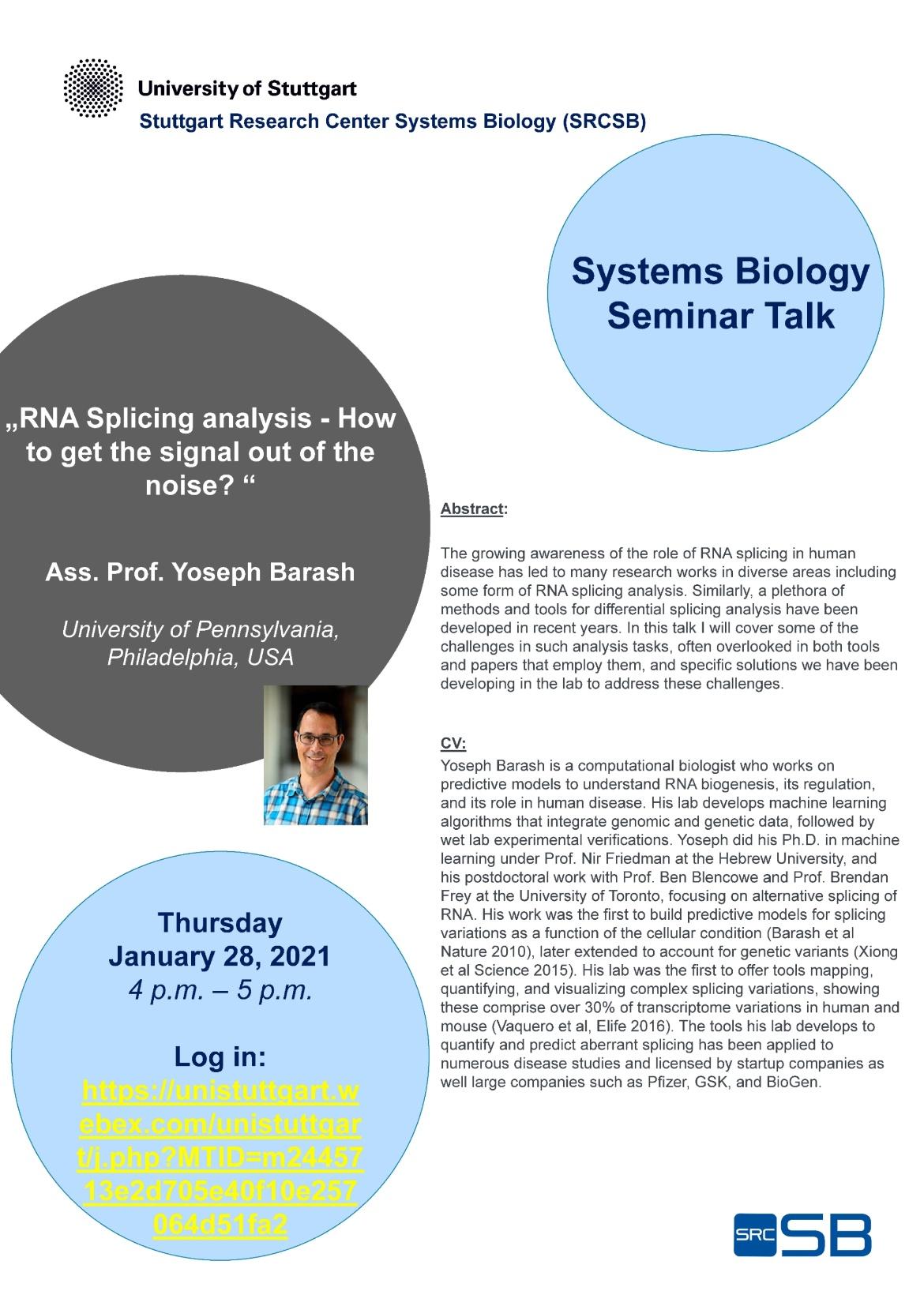 Announcement of the Talk of Ass. Prof. Yoseph Barash, University of Pennsylvania, USA